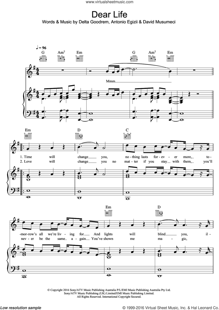 Dear Life sheet music for voice, piano or guitar by Delta Goodrem, Antonio Egizii and David Musumeci, intermediate skill level