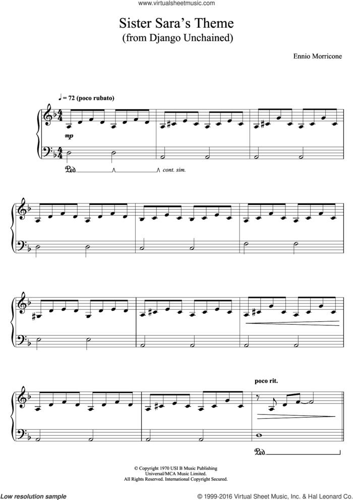 Sister Sara's Theme (Django Unchained) sheet music for piano solo by Ennio Morricone, classical score, intermediate skill level
