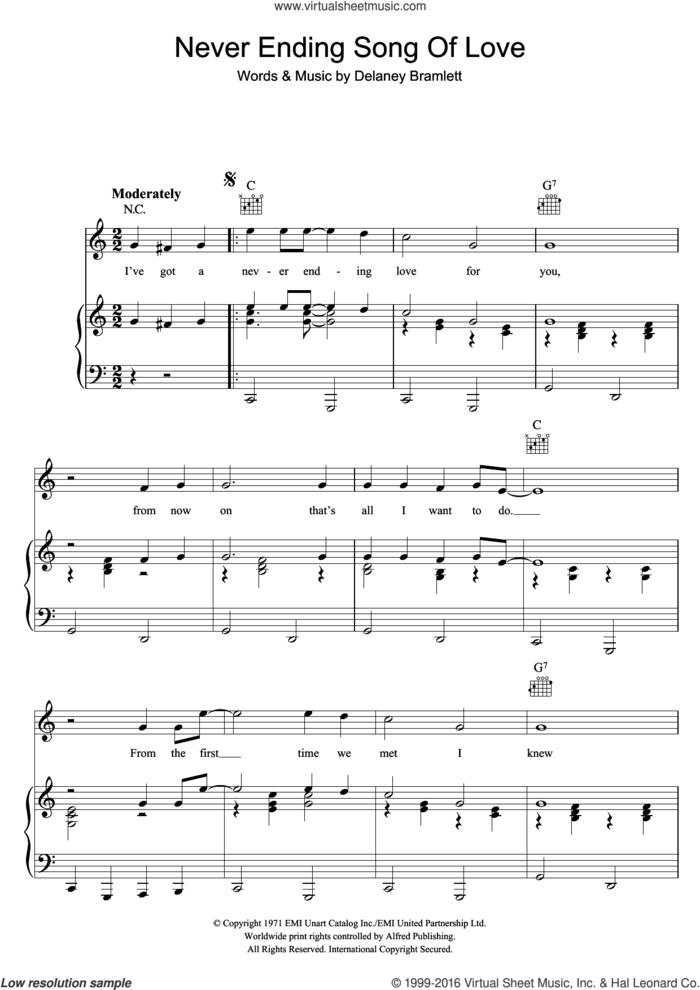 Never Ending Song Of Love sheet music for voice, piano or guitar by Delaney & Bonnie and Delaney Bramlett, intermediate skill level