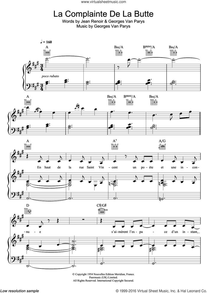 La Complainte De La Butte sheet music for voice, piano or guitar by Zaz, Georges Van Parys and Jean Renoir, intermediate skill level