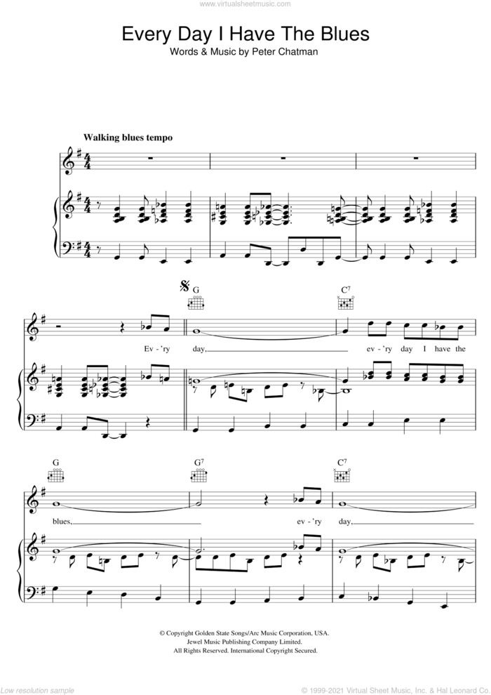 Every Day I Have The Blues sheet music for voice, piano or guitar by B.B. King and Peter Chatman, intermediate skill level