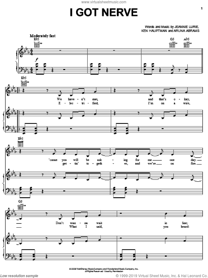 I Got Nerve sheet music for voice, piano or guitar by Hannah Montana, Miley Cyrus, Aruna Abrams, Jeannie Lurie and Ken Hauptman, intermediate skill level