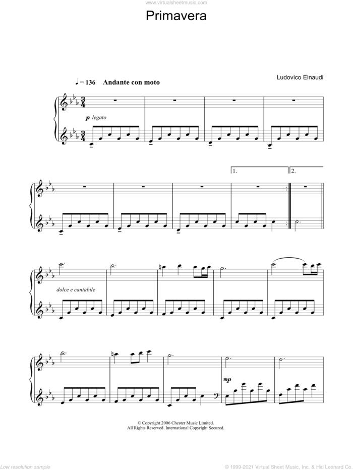Primavera sheet music for piano solo by Ludovico Einaudi, classical score, intermediate skill level