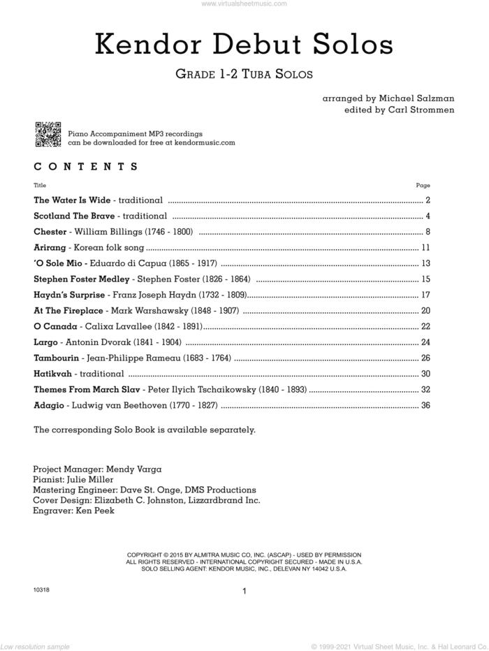 Kendor Debut Solos - Tuba - Piano Accompaniment sheet music for tuba and piano by Salzman and Miscellaneous, intermediate skill level