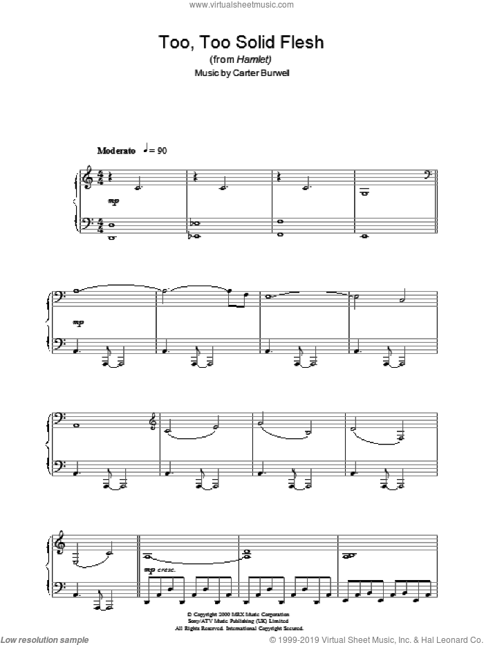 Too Too Solid Flesh (from Hamlet) sheet music for piano solo by Carter Burwell, intermediate skill level