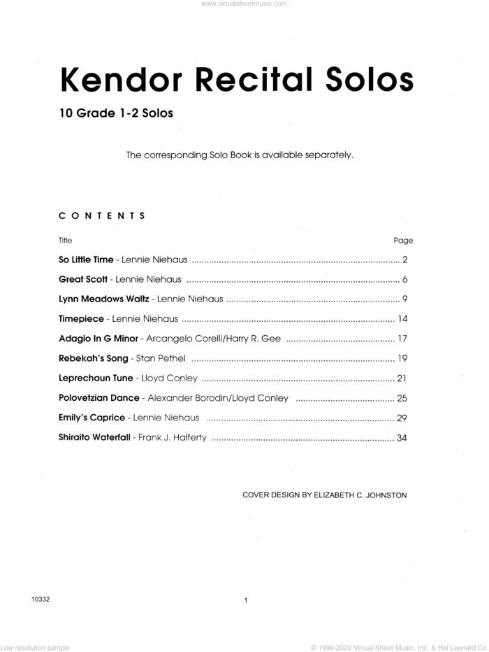 Kendor Recital Solos - Flute - Piano Accompaniment sheet music for flute and piano (piano), intermediate skill level