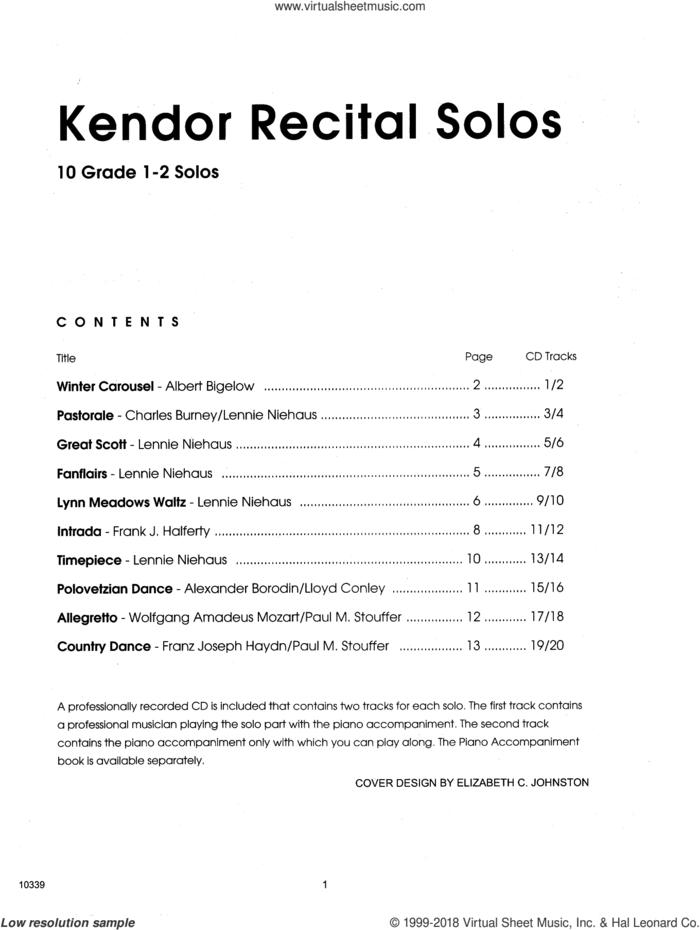 Kendor Recital Solos - Bb Trumpet - Solo Book sheet music for trumpet solo, intermediate skill level