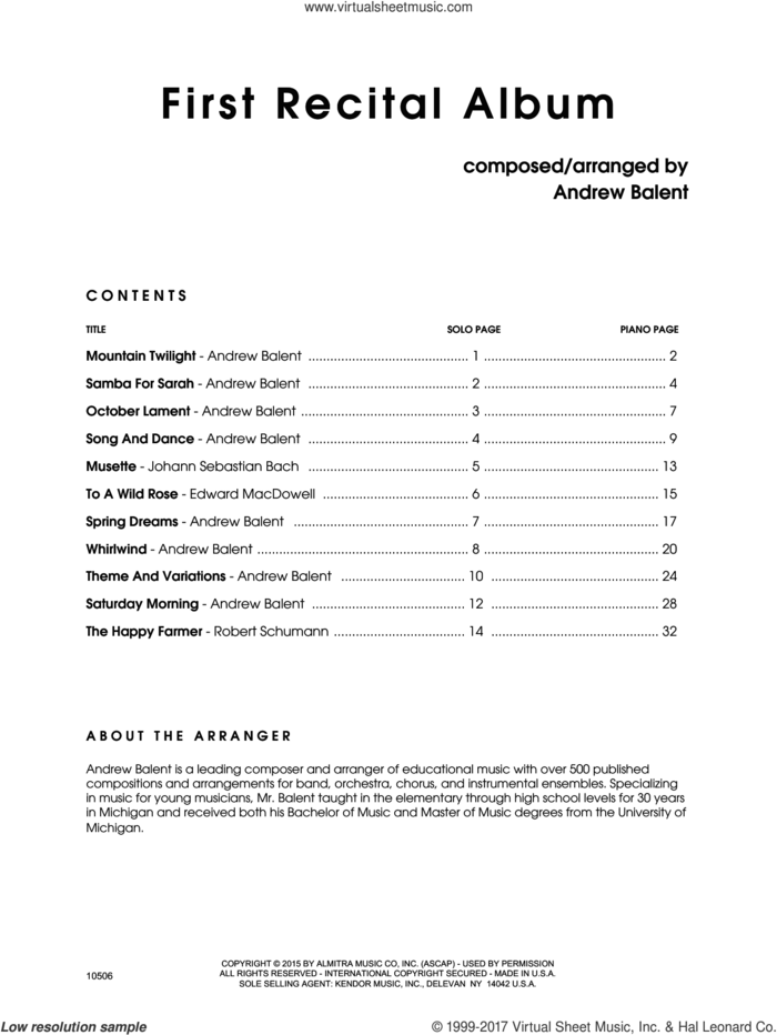 First Recital Album (complete set of parts) sheet music for flute and piano by Andrew Balent, intermediate skill level