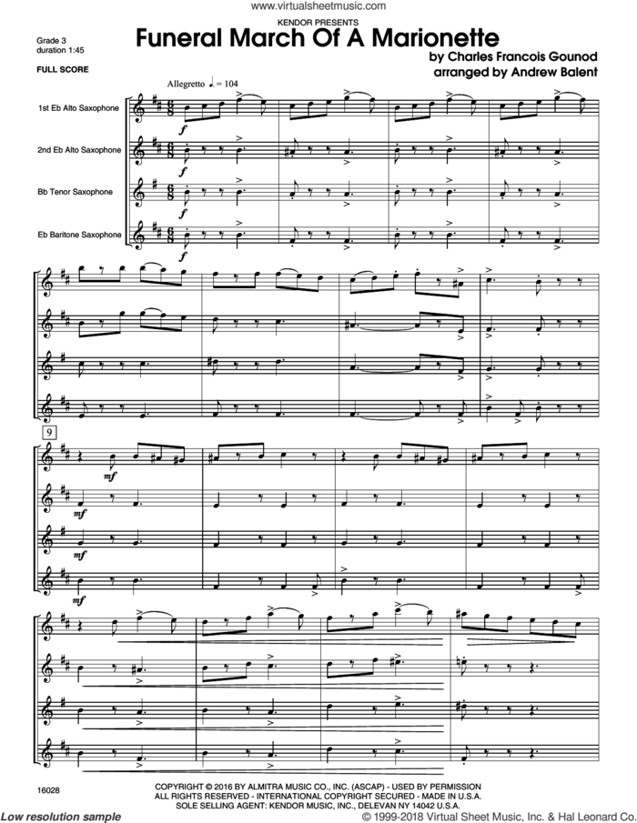 Funeral March Of A Marionette (COMPLETE) sheet music for saxophone quartet by Charles Gounod and Balent, intermediate skill level