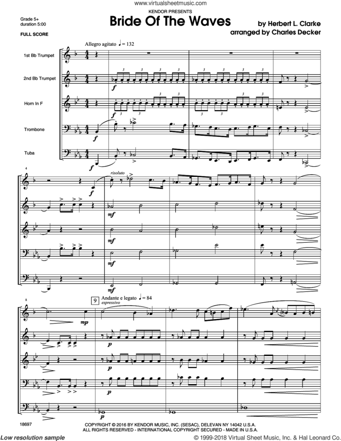 Bride Of The Waves (COMPLETE) sheet music for brass ensemble by Decker and CLARKE, intermediate skill level