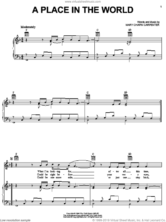 A Place In The World sheet music for voice, piano or guitar by Mary Chapin Carpenter, intermediate skill level