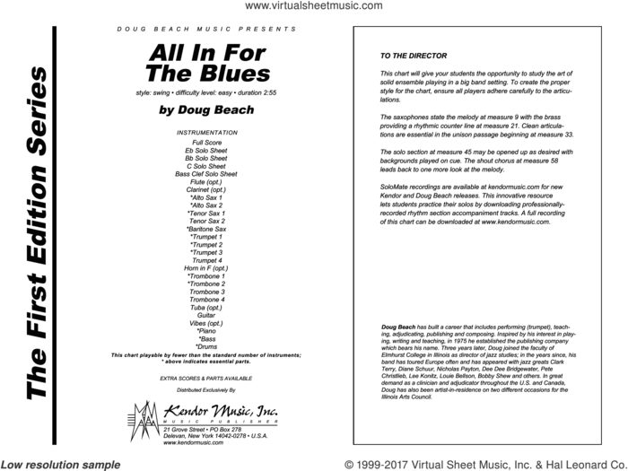 All In For The Blues (COMPLETE) sheet music for jazz band by Doug Beach, intermediate skill level