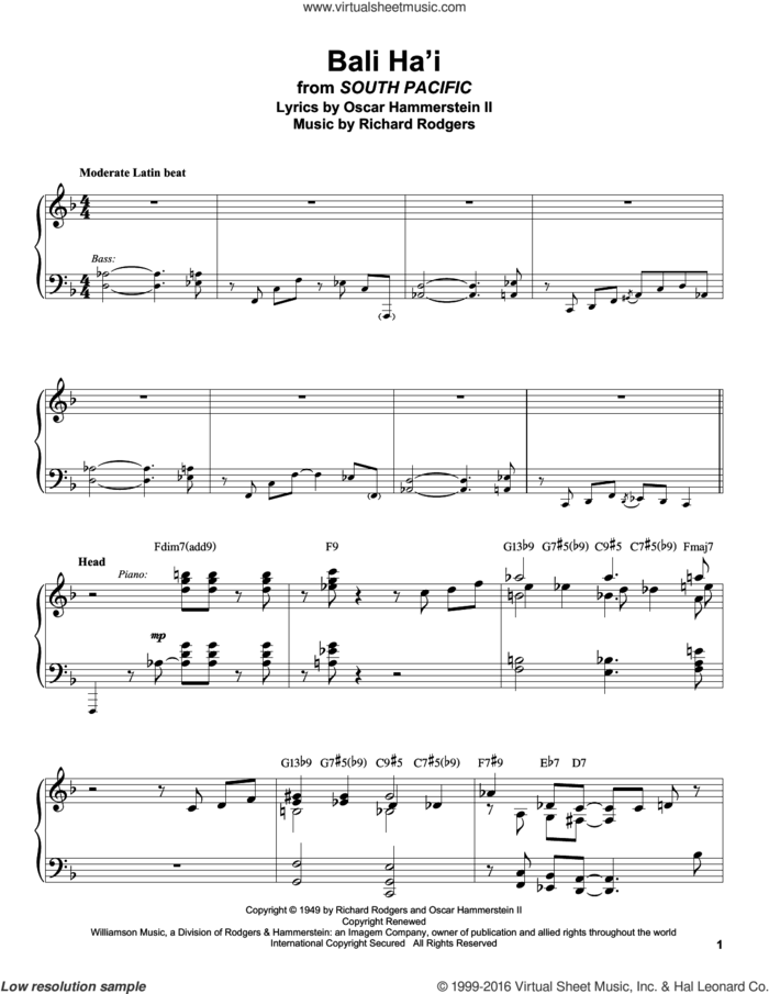 Bali Ha'i sheet music for piano solo (transcription) by Rodgers & Hammerstein, Oscar II Hammerstein and Richard Rodgers, intermediate piano (transcription)