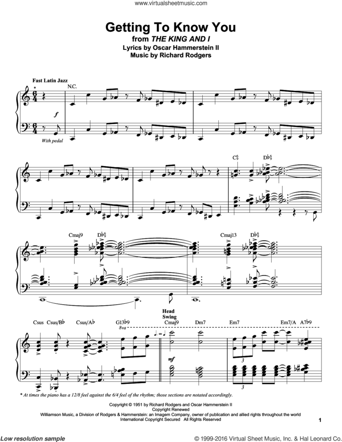 Getting To Know You sheet music for piano solo (transcription) by Rodgers & Hammerstein, Oscar II Hammerstein and Richard Rodgers, intermediate piano (transcription)