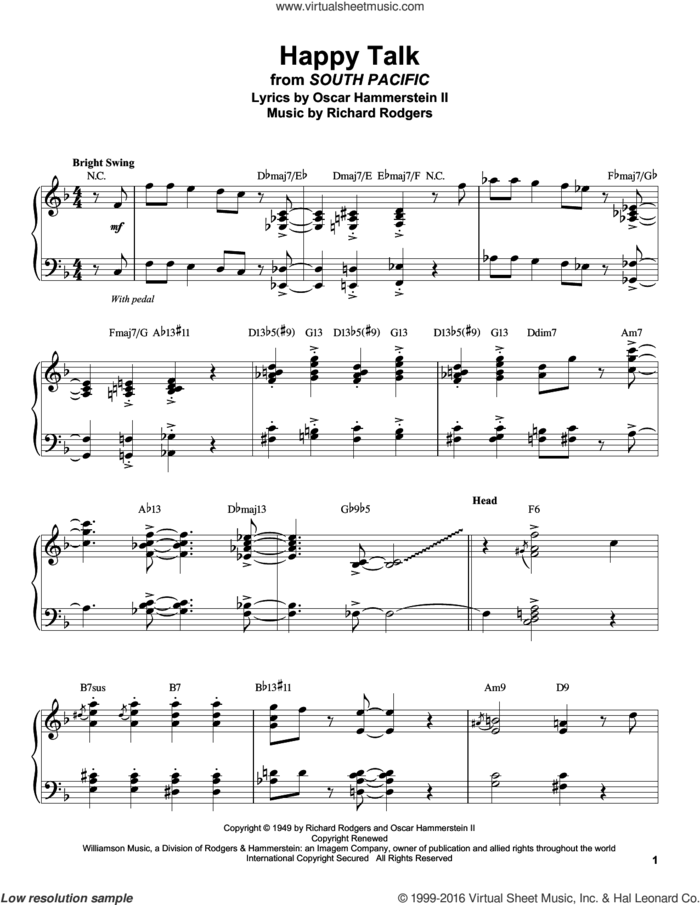Happy Talk sheet music for piano solo (transcription) by Rodgers & Hammerstein, Oscar II Hammerstein and Richard Rodgers, intermediate piano (transcription)