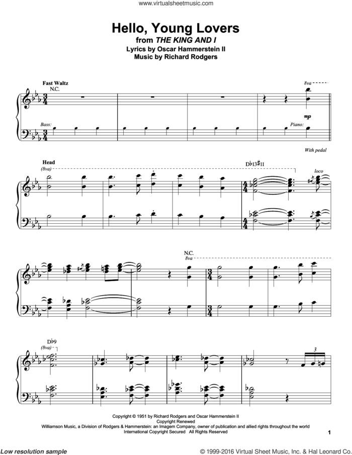 Hello, Young Lovers sheet music for piano solo (transcription) by Rodgers & Hammerstein, Stevie Wonder, Oscar II Hammerstein and Richard Rodgers, intermediate piano (transcription)