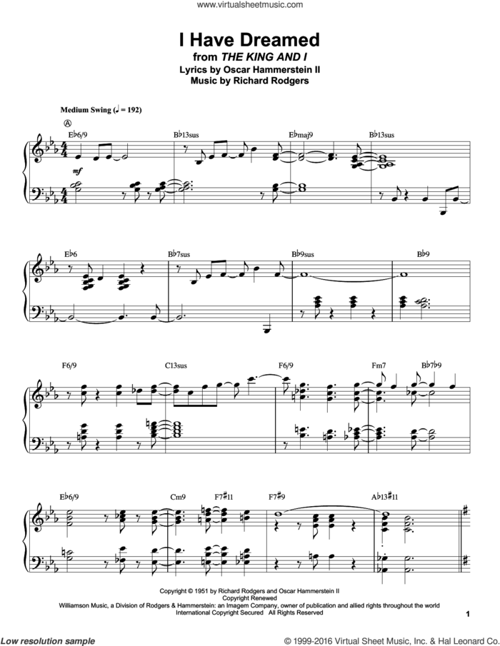 I Have Dreamed sheet music for piano solo (transcription) by Rodgers & Hammerstein, Oscar II Hammerstein and Richard Rodgers, intermediate piano (transcription)