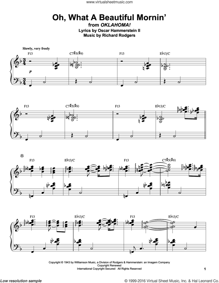 Oh, What A Beautiful Mornin' (from Oklahoma!) sheet music for piano solo (transcription) by Rodgers & Hammerstein, Oscar II Hammerstein and Richard Rodgers, intermediate piano (transcription)