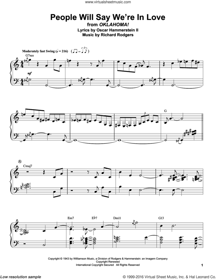 People Will Say We're In Love (from Oklahoma!) sheet music for piano solo (transcription) by Rodgers & Hammerstein, Oscar II Hammerstein and Richard Rodgers, intermediate piano (transcription)
