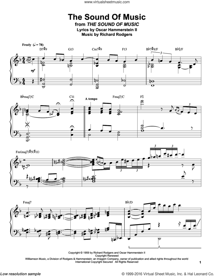 The Sound Of Music sheet music for piano solo (transcription) by Rodgers & Hammerstein, Oscar II Hammerstein and Richard Rodgers, intermediate piano (transcription)