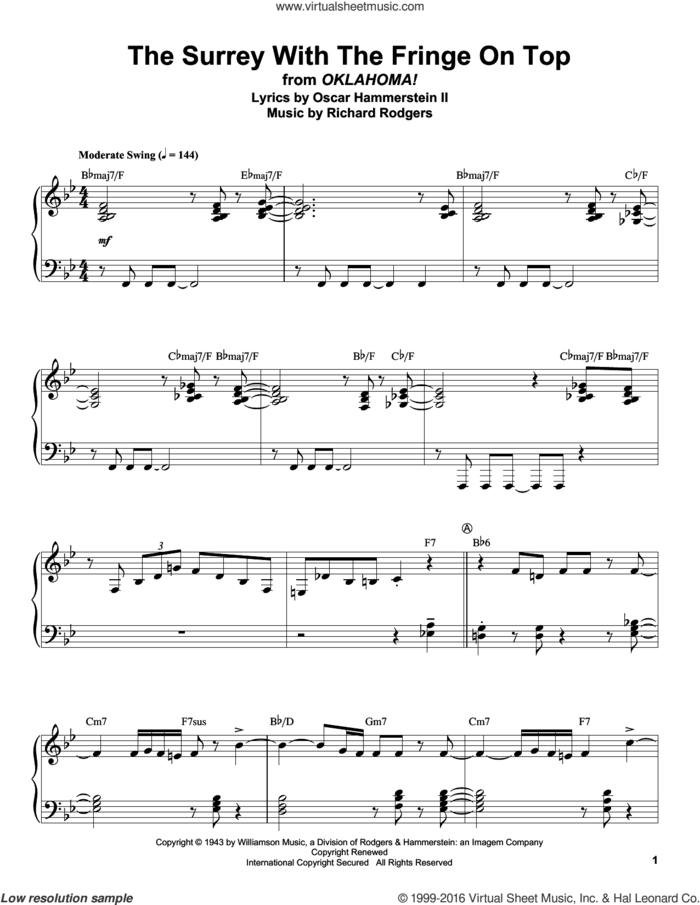 The Surrey With The Fringe On Top (from Oklahoma!) sheet music for piano solo (transcription) by Rodgers & Hammerstein, Oscar II Hammerstein and Richard Rodgers, intermediate piano (transcription)