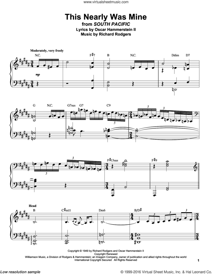 This Nearly Was Mine sheet music for piano solo (transcription) by Rodgers & Hammerstein, Oscar II Hammerstein and Richard Rodgers, intermediate piano (transcription)
