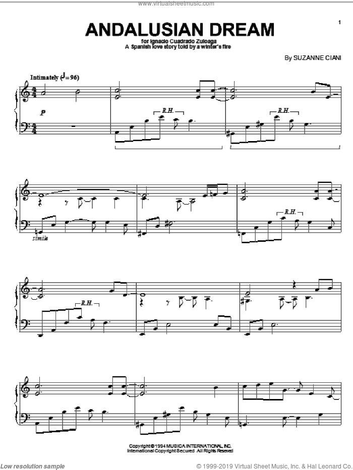 Andalusian Dream sheet music for piano solo by Suzanne Ciani, intermediate skill level