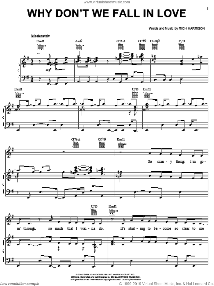 Why Don't We Fall In Love sheet music for voice, piano or guitar by Amerie and Rich Harrison, intermediate skill level