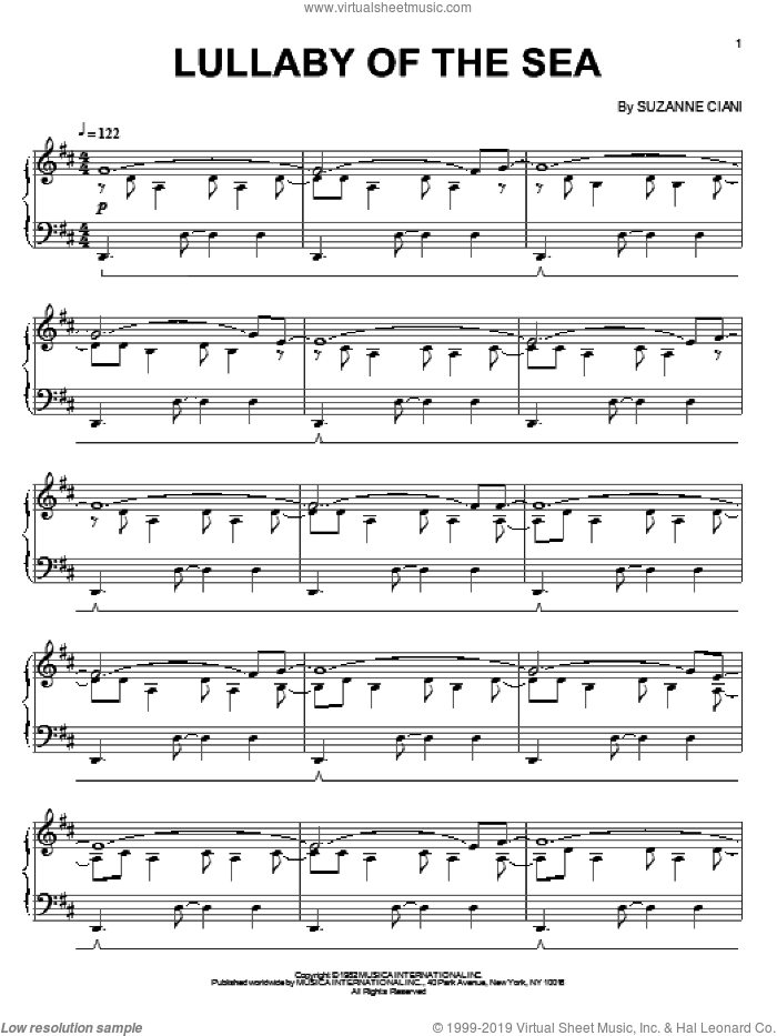 The Fifth Wave-Lullaby Of The Sea sheet music for piano solo by Suzanne Ciani, intermediate skill level