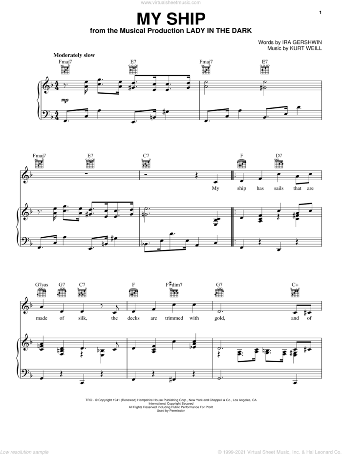 My Ship sheet music for voice, piano or guitar by Kurt Weill and Ira Gershwin, intermediate skill level