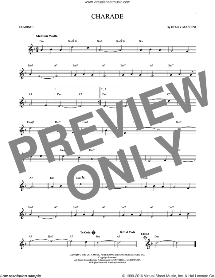 Charade sheet music for clarinet solo by Henry Mancini, intermediate skill level