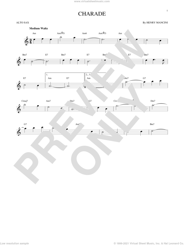 Charade sheet music for alto saxophone solo by Henry Mancini, intermediate skill level