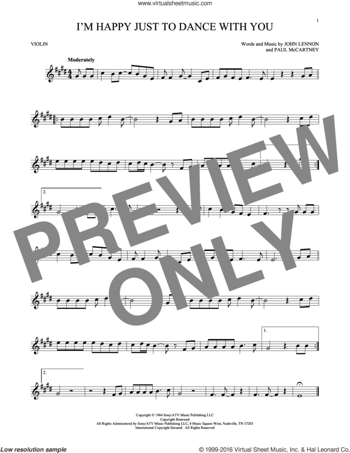 I'm Happy Just To Dance With You sheet music for violin solo by The Beatles, John Lennon and Paul McCartney, intermediate skill level