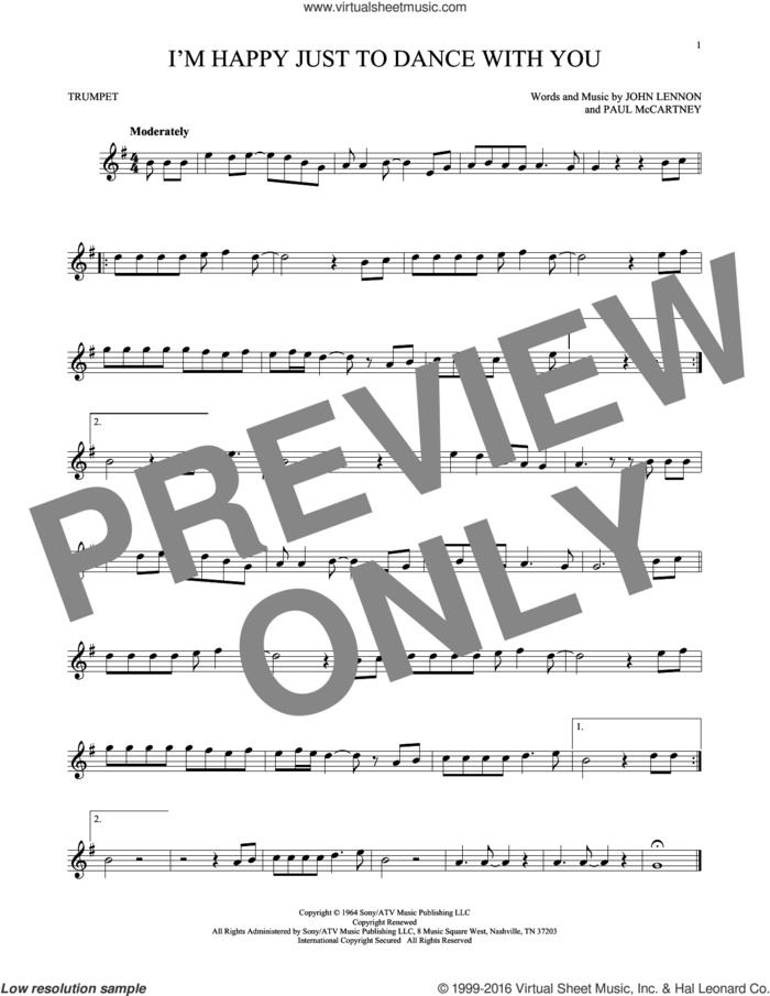 I'm Happy Just To Dance With You sheet music for trumpet solo by The Beatles, John Lennon and Paul McCartney, intermediate skill level