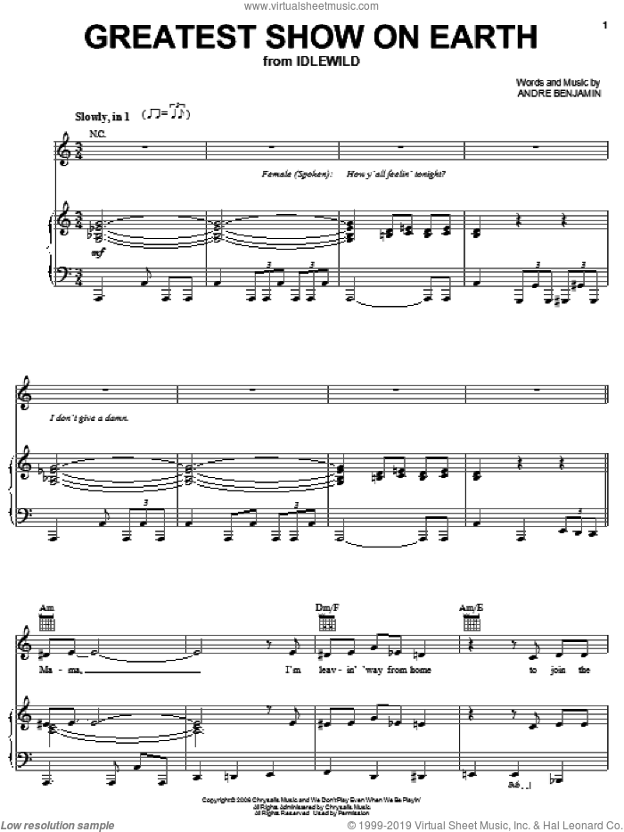 Greatest Show On Earth sheet music for voice, piano or guitar by OutKast and Andre Benjamin, intermediate skill level
