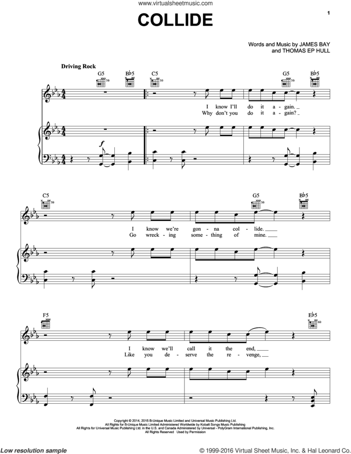 Collide sheet music for voice, piano or guitar by James Bay and Thomas EP Hull, intermediate skill level