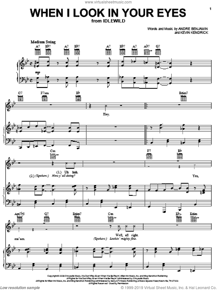 When I Look In Your Eyes sheet music for voice, piano or guitar by OutKast, Andre Benjamin and Kevin Kendricks, intermediate skill level