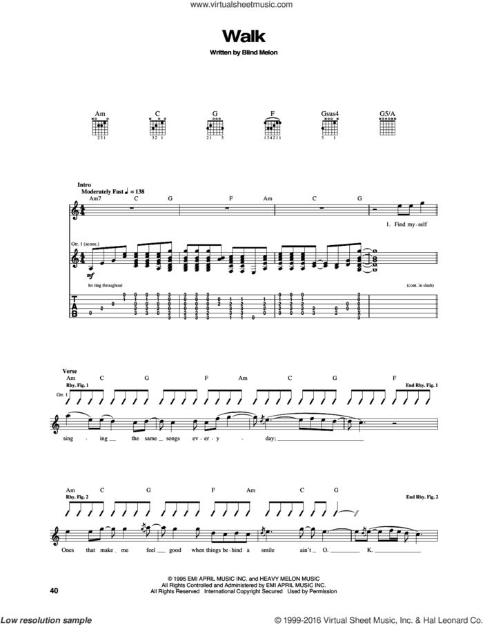 Walk sheet music for guitar (tablature) by Blind Melon, intermediate skill level