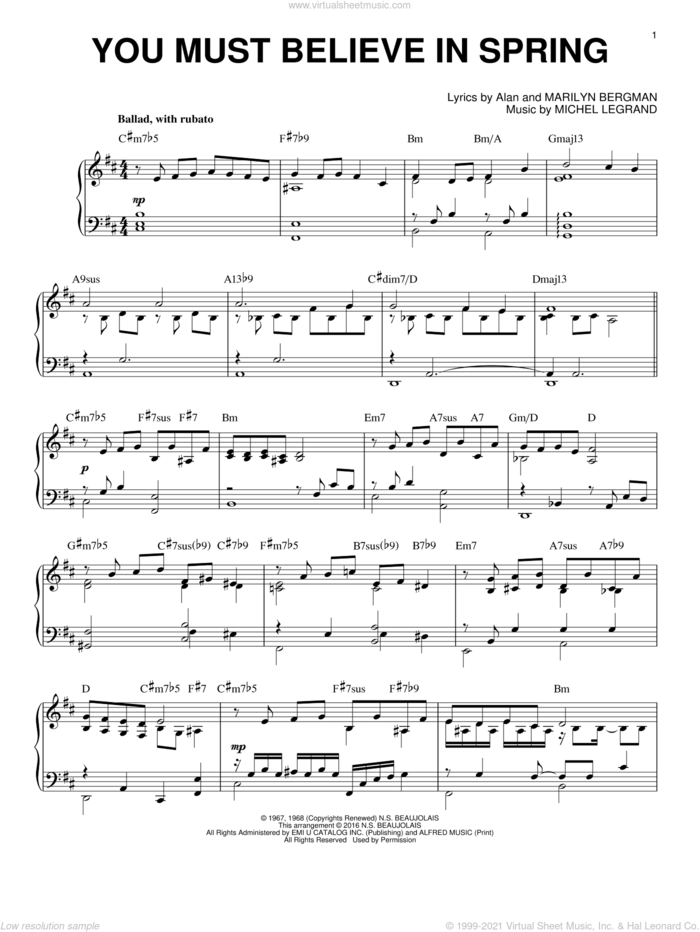 You Must Believe In Spring [Jazz version] (arr. Brent Edstrom) sheet music for piano solo by Michel LeGrand, Alan Bergman and Marilyn Bergman, intermediate skill level