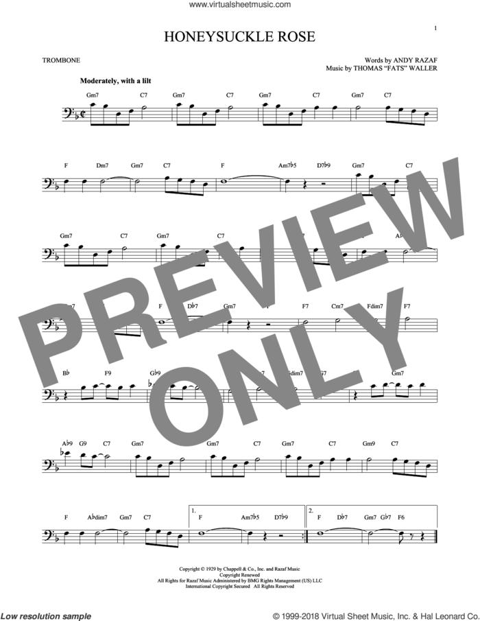 Honeysuckle Rose sheet music for trombone solo by Andy Razaf, Django Reinhardt and Thomas Waller, intermediate skill level