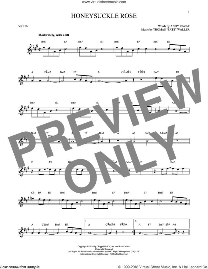 Honeysuckle Rose sheet music for violin solo by Andy Razaf, Django Reinhardt and Thomas Waller, intermediate skill level