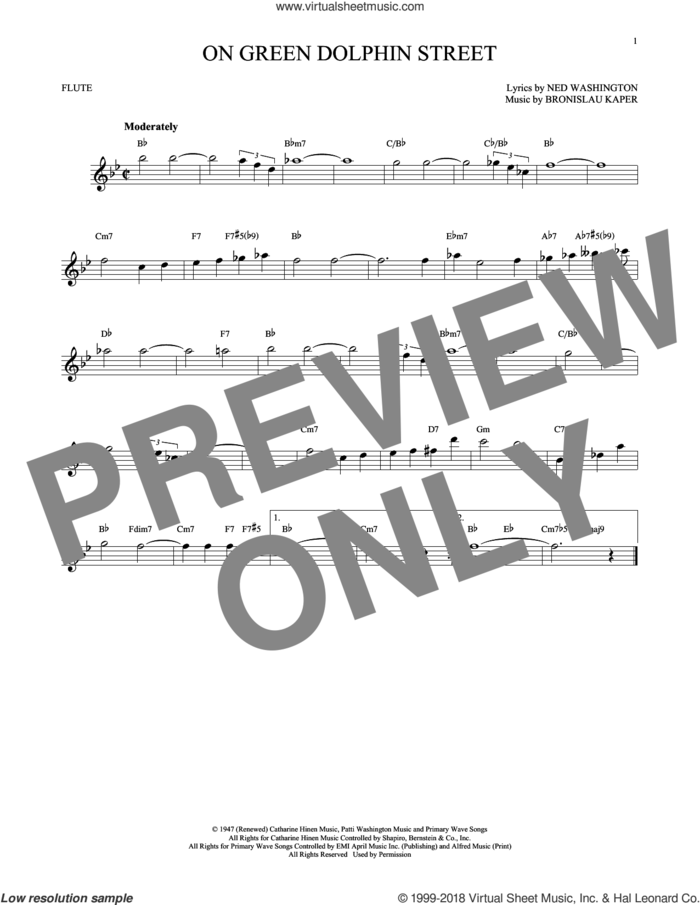 On Green Dolphin Street sheet music for flute solo by Ned Washington and Bronislau Kaper, intermediate skill level