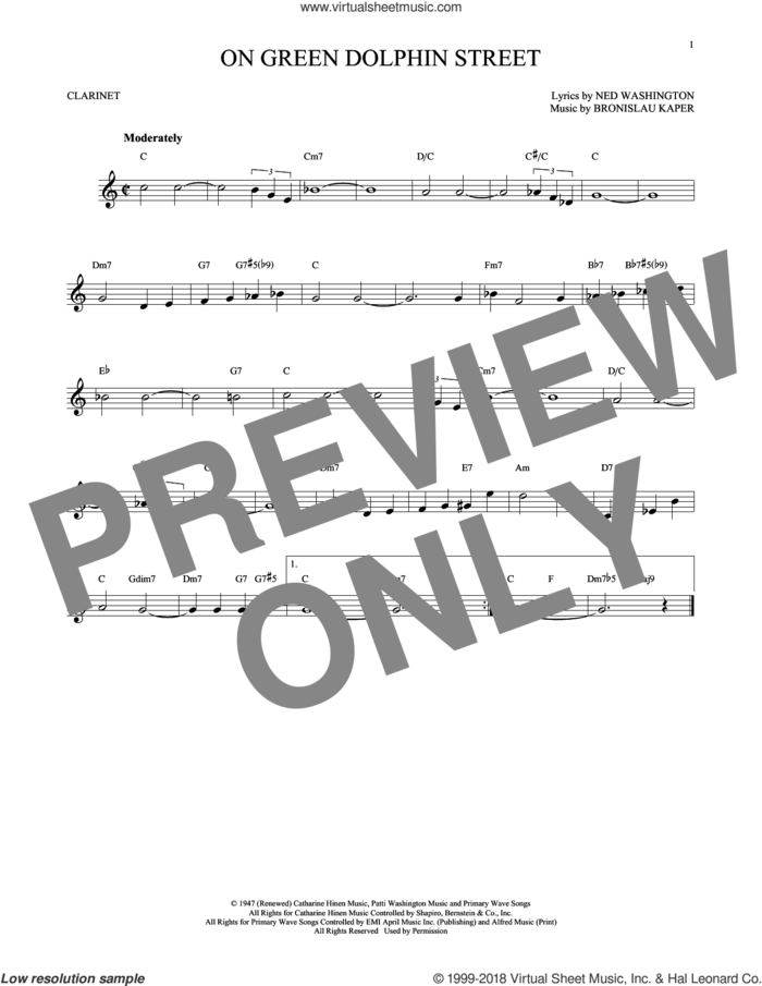On Green Dolphin Street sheet music for clarinet solo by Ned Washington and Bronislau Kaper, intermediate skill level