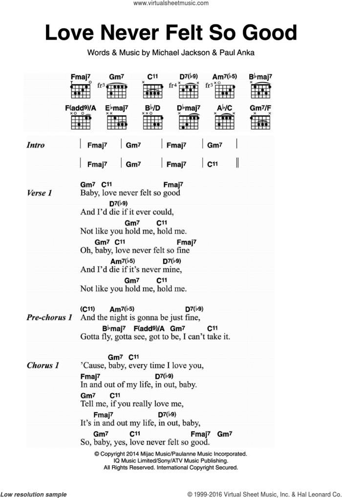 Love Never Felt So Good sheet music for guitar (chords) by Michael Jackson and Paul Anka, intermediate skill level
