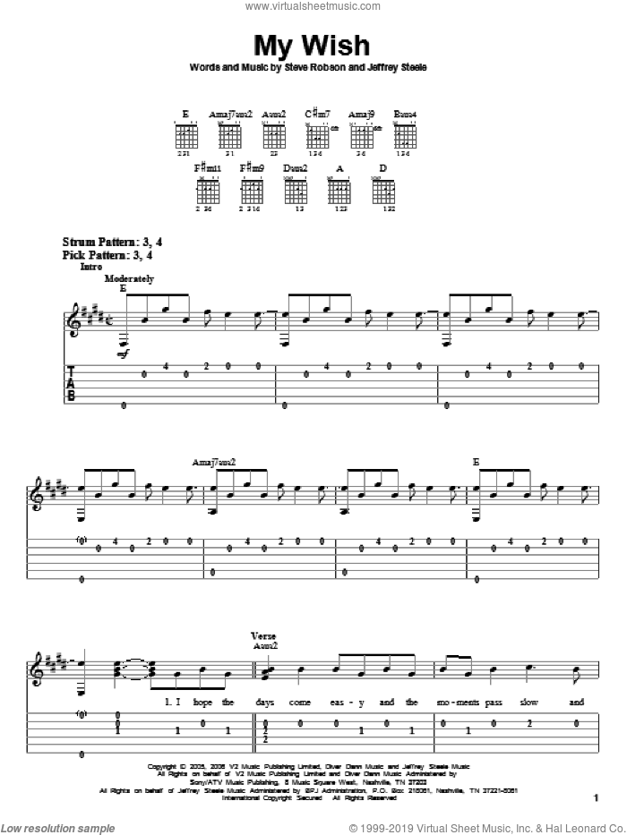 My Wish sheet music for guitar solo (easy tablature) by Rascal Flatts, Jeffrey Steele and Steve Robson, easy guitar (easy tablature)