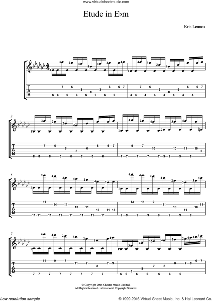 Etude In E flat minor sheet music for guitar (tablature) by Kris Lennox, intermediate skill level