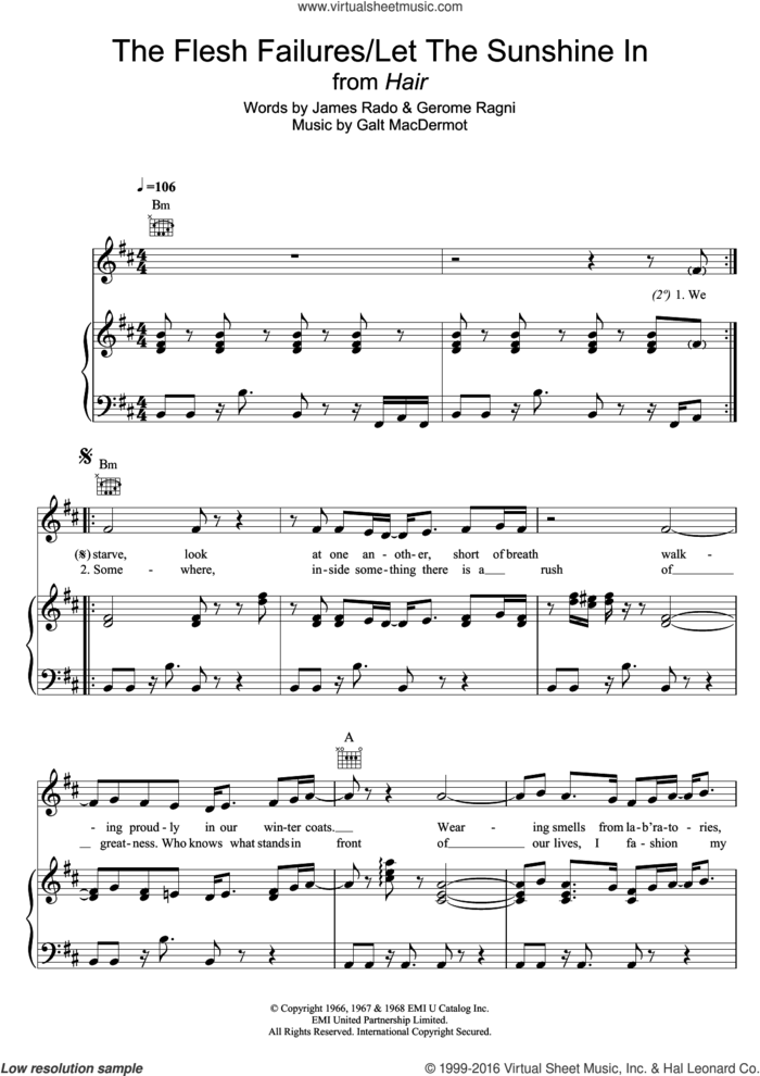 The Flesh Failures/Let The Sunshine In (from 'Hair') sheet music for voice, piano or guitar by Galt MacDermot, Gerome Ragni and James Rado, intermediate skill level