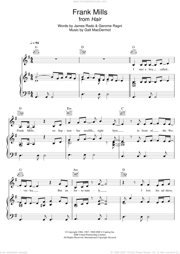 Frank Mills (from 'Hair') sheet music for voice, piano or guitar by Galt MacDermot, Gerome Ragni and James Rado, intermediate skill level