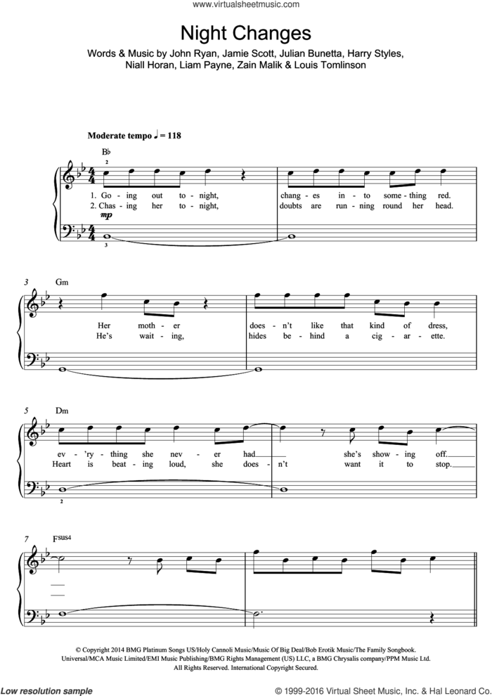 Night Changes sheet music for piano solo by One Direction, Harry Styles, Jamie Scott, John Ryan, Julian Bunetta, Liam Payne, Louis Tomlinson, Niall Horan and Zain Malik, easy skill level