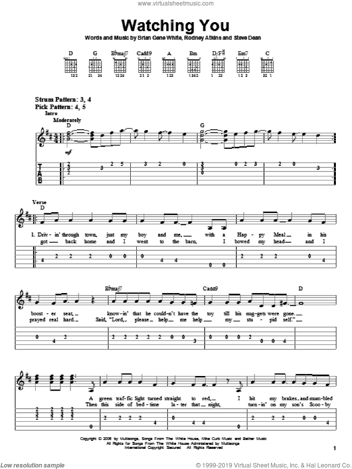 Watching You sheet music for guitar solo (easy tablature) by Rodney Atkins, Brian Gene White and Steve Dean, easy guitar (easy tablature)